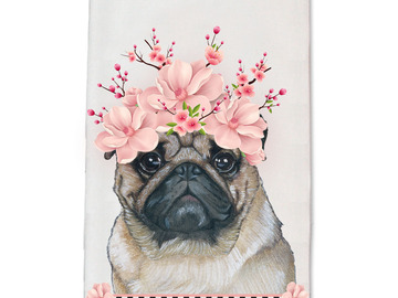 Selling: Pug Dog Floral Kitchen Dish Towel Pet Gift