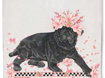 Selling: Pug Black Pug Dog Floral Kitchen Dish Towel Pet Gift