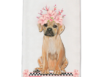 Selling: Puggle Dog Floral Kitchen Dish Towel Pet Gift