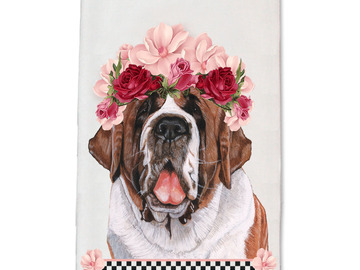 Selling: Saint Bernard Dog- Dish Towel Pet Gift