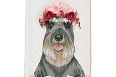 Selling: Schnauzer Dog Floral Kitchen Dish Towel Pet Gift