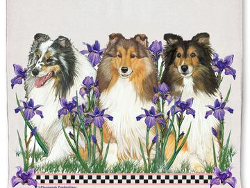 Selling: Shetland Sheepdog Sheltie Dog Floral Kitchen Dish Towel Pet Gift