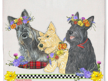 Selling: Scottish Terrier Scottie Dog Floral Kitchen Dish Towel Pet Gift
