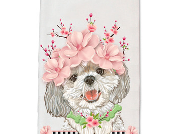 Selling: Shih Tzu Dog Floral Kitchen Dish Towel Pet Gift