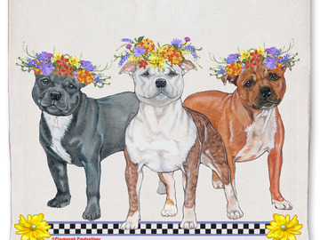 Selling: Staffordshire Bull Terrier Dog Floral Kitchen Dish Towel Pet Gift