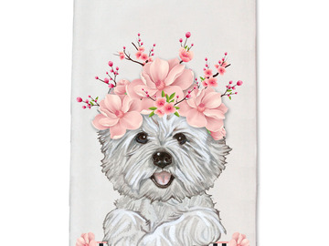 Selling: West Highland Terrier Dog Floral Kitchen Dish Towel Pet Gift