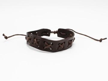 Liquidation/Wholesale Lot: Dozen Mens Faux Leather Bracelets B2066