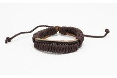Liquidation/Wholesale Lot: Dozen Mens Faux Leather Bracelets B2074