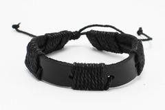 Liquidation/Wholesale Lot: Dozen Mens Faux Leather Bracelets B2067