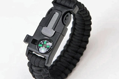Liquidation/Wholesale Lot: Black Survival Wrap Emergency Paracord Bracelet W/ Fire Starter