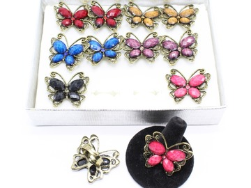 Liquidation/Wholesale Lot: Dozen Antiqued Gold Butterfly Adjustable Rings R2011