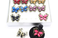 Liquidation/Wholesale Lot: Dozen Antiqued Gold Butterfly Adjustable Rings R2011