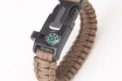 Liquidation/Wholesale Lot: Brown Survival Wrap Emergency Paracord Bracelet W/ Fire Starter