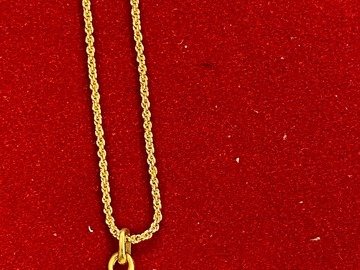 "Liquidation/Wholesale Lot: 50 pcs-- 16"" 14kt goldtone Rope chain with Rhinestone ball $.99ea"