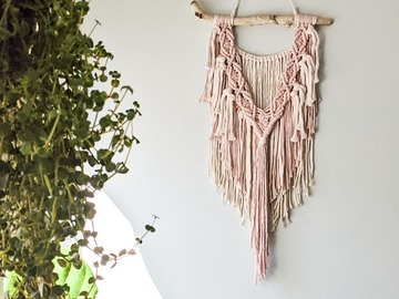 Selling: Pink Macrame Wall Hanging with Driftwood