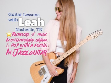 30 minute lessns: Guitar & Voice Lessns with Leah SKYPE/ZOOM (30 min TRIAL LESSON)