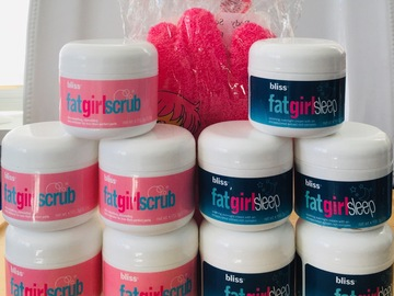 Liquidation/Wholesale Lot: BLISS Fatgirlscrub, Fatgirlsleep, body scrub glove