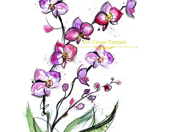 Tattoo design: Orchids