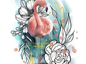 Tattoo design: Flamingo