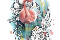 Tattoo design: Flamingo