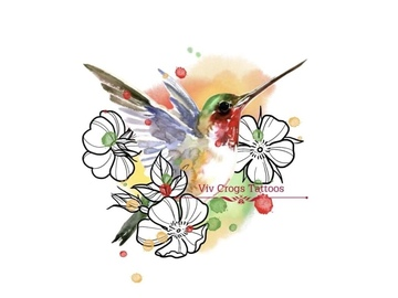 Tattoo design: Hummingbird