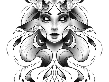 Tattoo design: Grey Girl