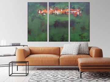 Sell Artworks: XXXL Green Echoes VI 120 x 80 cm Abstract Triptych