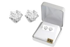 Liquidation/Wholesale Lot: 12 Pair Cubic Zirconia  Heart Earrings in Beautiful Gift Box