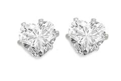 Liquidation/Wholesale Lot: 50 pair Heart CZ Stud Earrings- 2 Carats