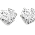 Liquidation/Wholesale Lot: 100 pair Heart CZ Stud Earrings- 4 Carats- Gold + Silver Overlay