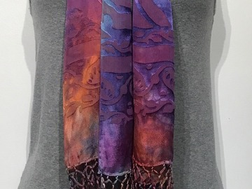 "Selling with online payment: Hand Dyed Silk and Rayon Rainbow Scarf  14"" x 72"" + fringe"