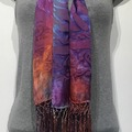 """Selling with online payment: Hand Dyed Silk and Rayon Rainbow Scarf  14"""" x 72"""" + fringe"""