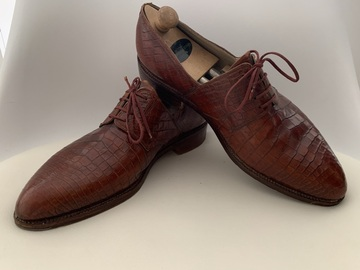 Online payment: Bespoke Capobianco Red Crocodile Derbies - Size 7UK