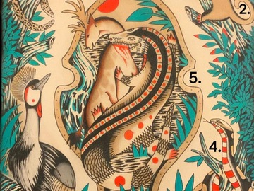 Tattoo design: 5 - Gator and Deer centrepiece