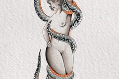 Tattoo design: Coiled Snake and Nude