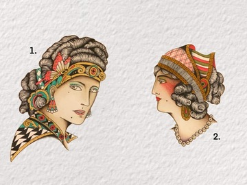 Tattoo design: 2 - Side Profile Romani Portrait