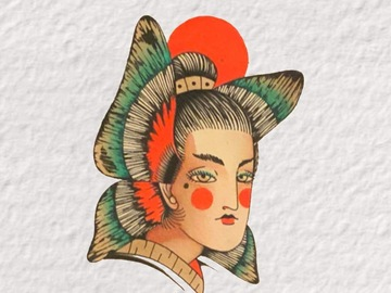 Tattoo design: Abstract Butterfly Geisha
