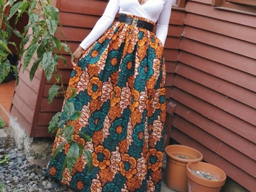 For Sale: Handmade Unlined African Print Maxi / Full Length Skirt  Elastic