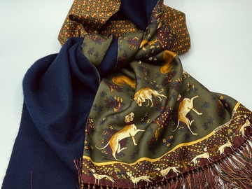 Online payment: Reversible silk/cashmere scarf Holland & Holland