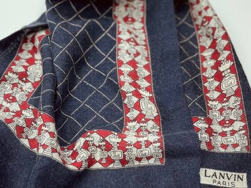 Online payment: Lanvin light navy wool scarf, chess game print