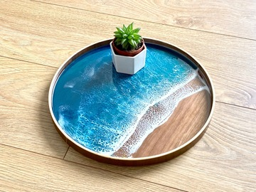: Wood Serving Tray - Aqua