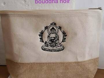 Vente au détail: trousse, beige, toile de jute , bouddha