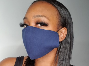 For Sale: Handmade Navy Jersey Face Mask
