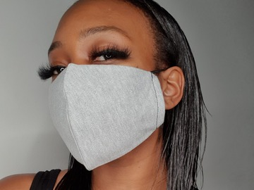 For Sale: Handmade Grey Jersey Face Mask