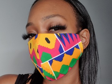 For Sale: Handmade Pink Cotton Kente Face Mask