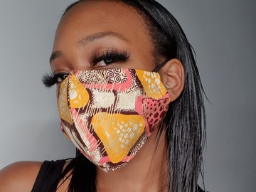 For Sale: Handmade Brown Kente Face Mask