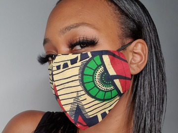 For Sale: Handmade Beige Cotton Kente Face Mask