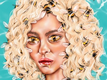 Sell Artworks: Awakening Goddess of Bees (Ready-to-hang)
