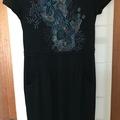 Selling: Black Short Sleeve Dress Coral Print
