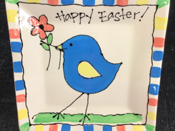 Selling with online payment: Happy Easter Platter with Blue Chick